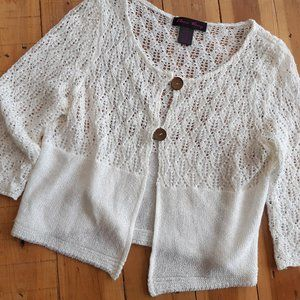 cream knit minimalist cardigan / crochet top